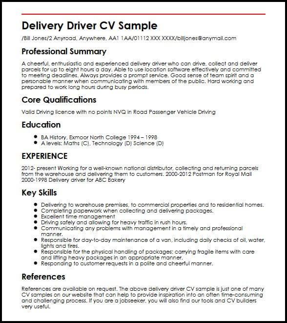 Delivery Driver CV Sample MyperfectCV