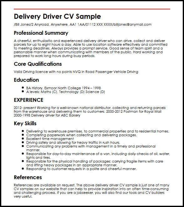 postman resume samples