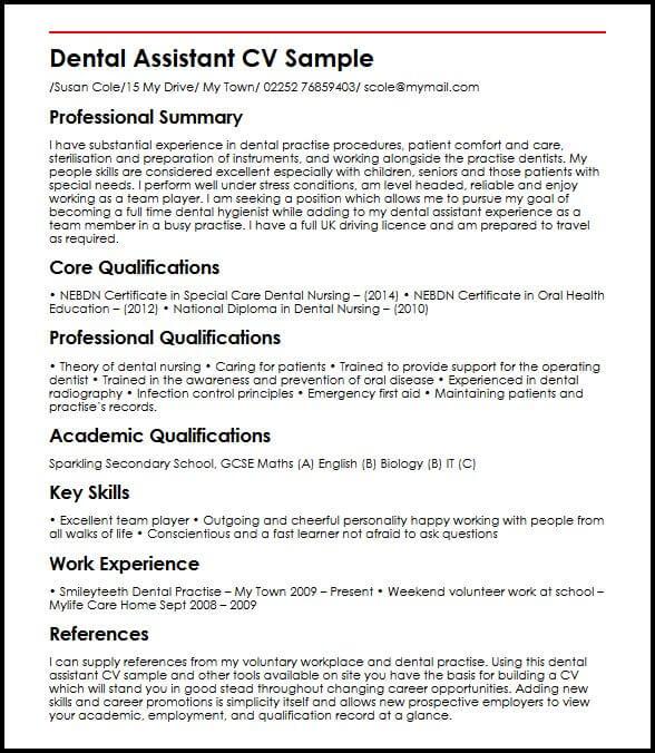Dental Assistant MyperfectCV