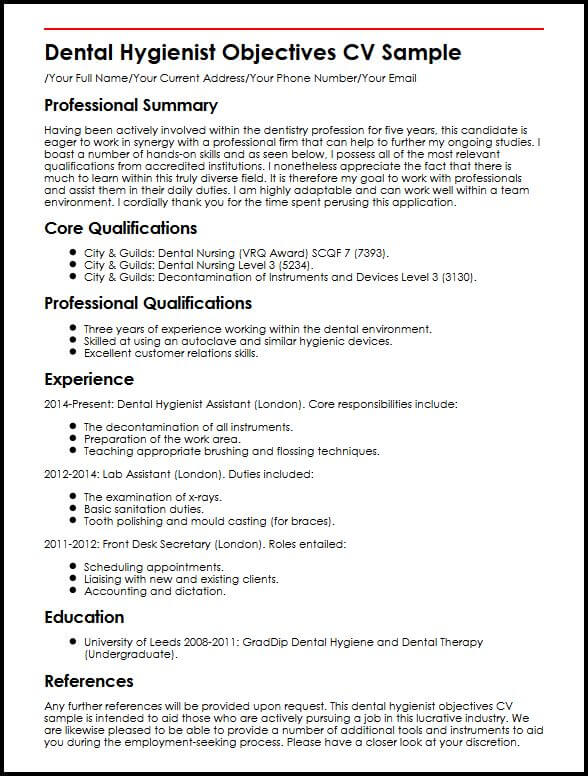 Dental Hygienist Objectives CV Sample MyperfectCV