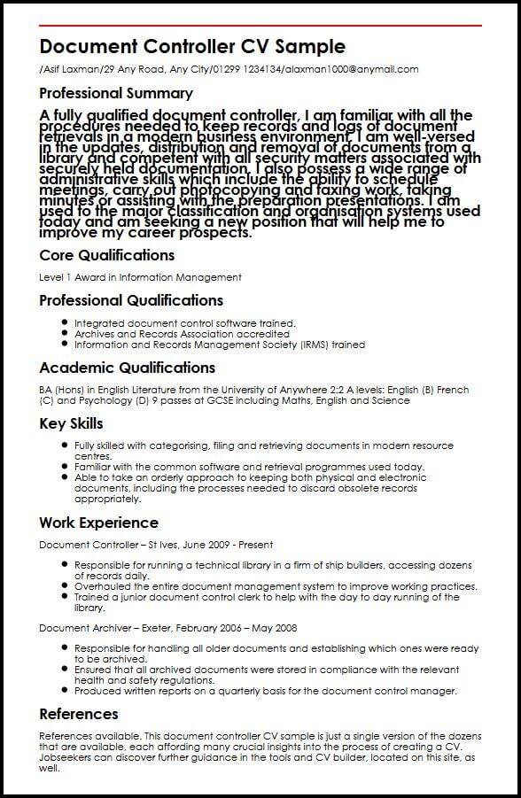 Document Controller CV Sample MyperfectCV