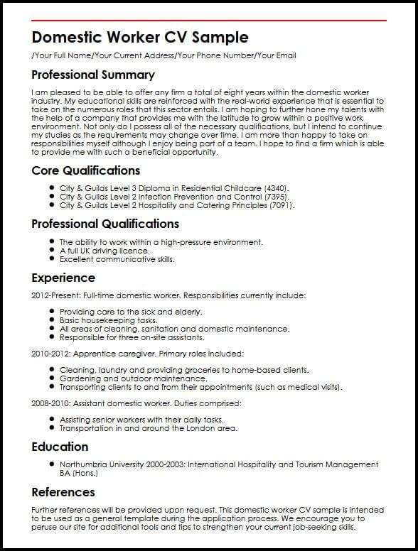 Domestic Worker CV Sample MyperfectCV