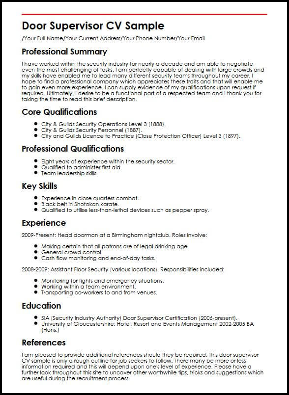 description personnelle cv