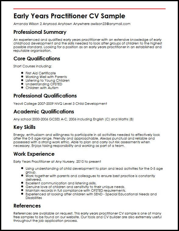 Early Years Practitioner CV Sample MyperfectCV