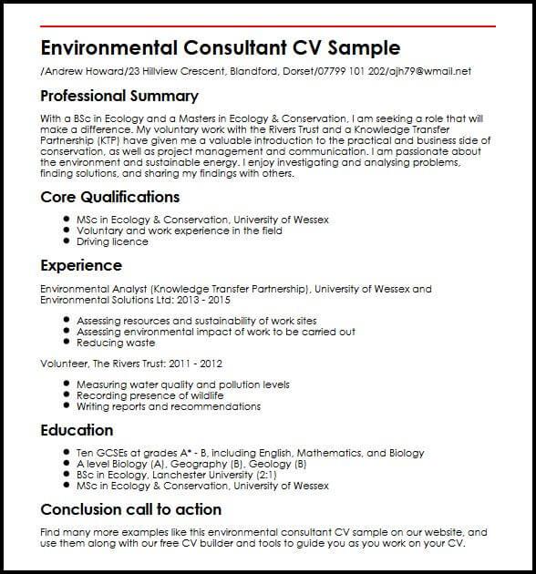 Environmental Consultant CV Sample MyperfectCV