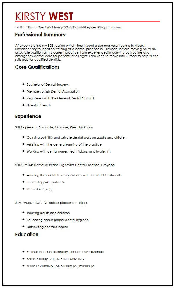 Europass CV Sample MyperfectCV