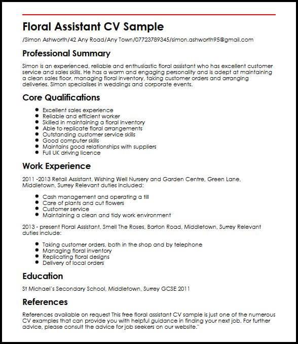 Floral Assistant CV Sample MyperfectCV