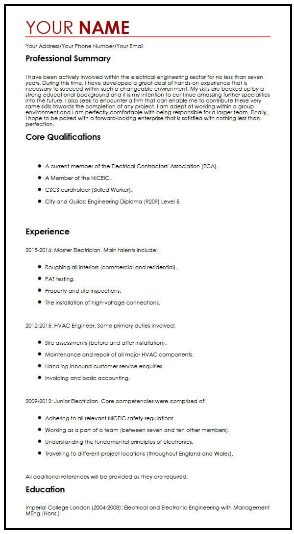 perfect cv example uk
