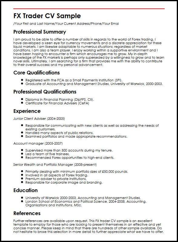 fx dealer resume sample