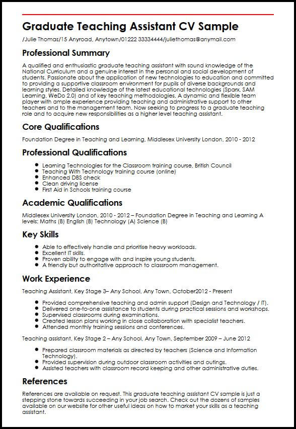 Graduate Teaching Assistant CV Sample MyperfectCV - how to write cv for teaching job
