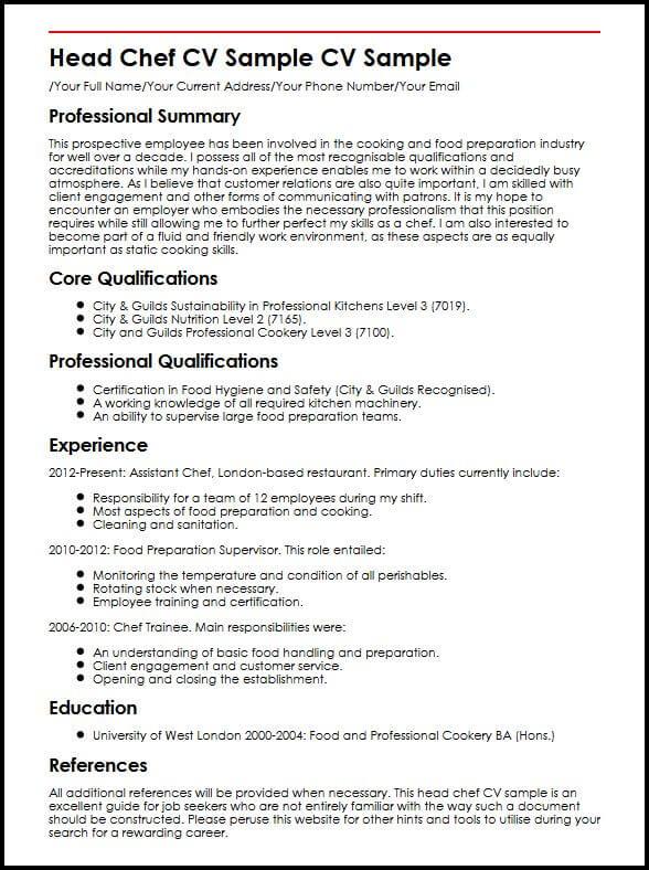 head cook resume sample