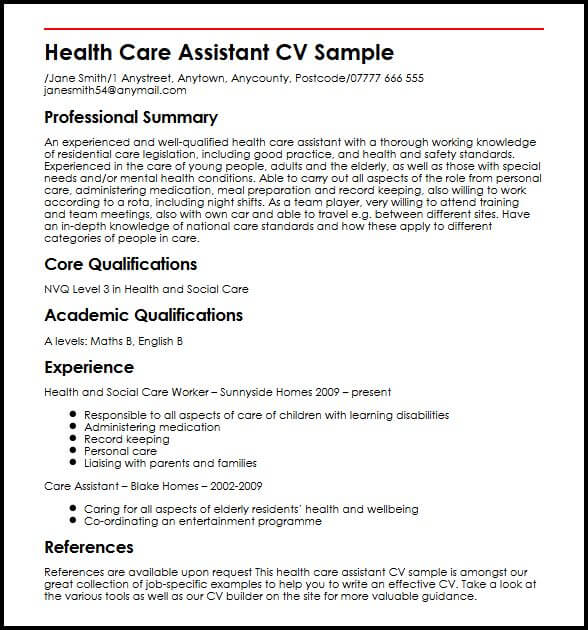 Health Care Assistant CV Sample MyperfectCV