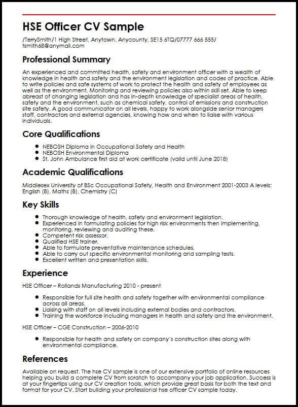 HSE Officer CV Sample MyperfectCV