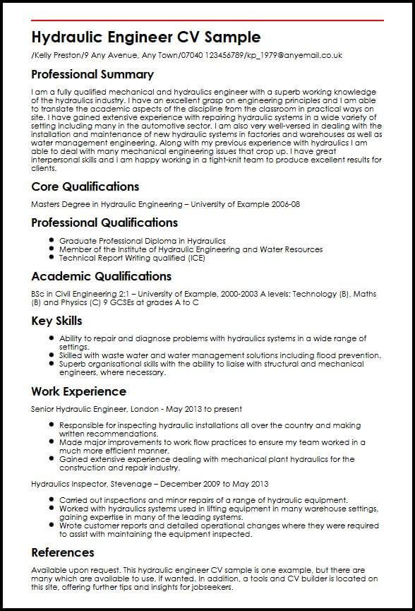 hydraulic engineer resume sample