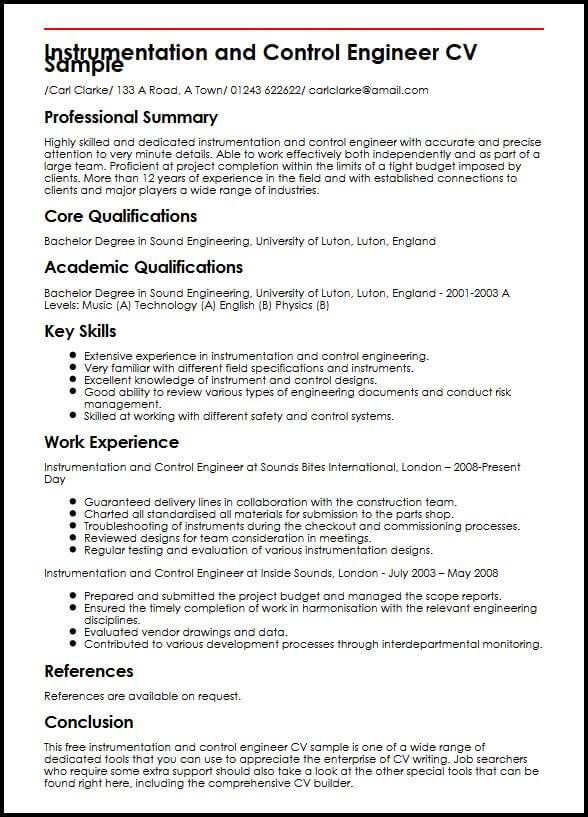 Instrumentation and Control Engineer CV Sample MyperfectCV