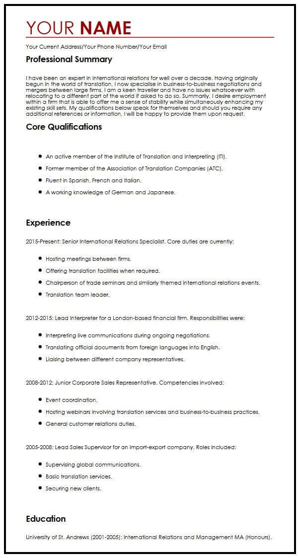 International CV Sample MyperfectCV