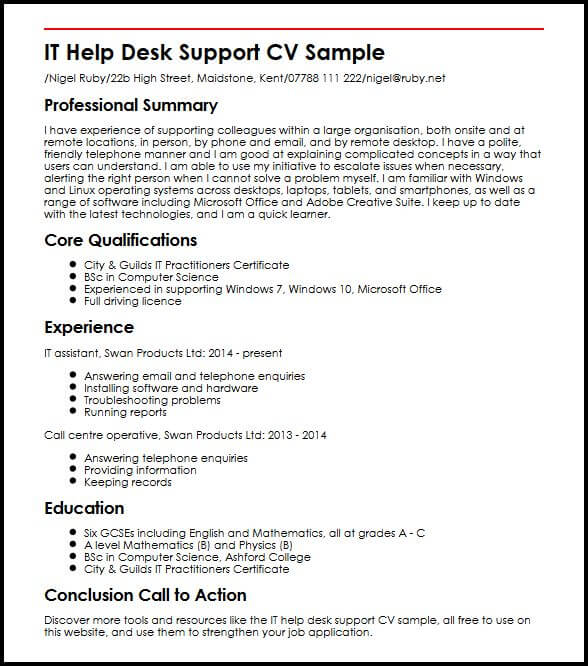 IT Help Desk Support CV Sample MyperfectCV