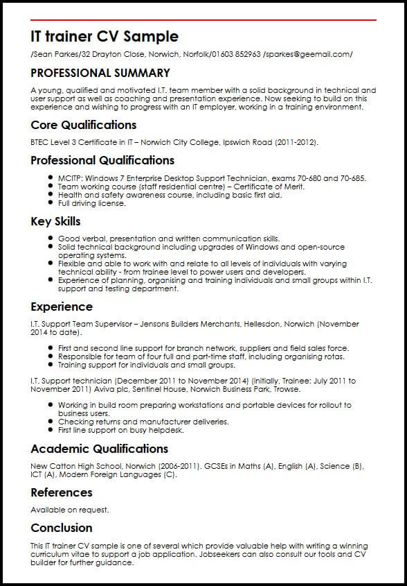 certification in english cv