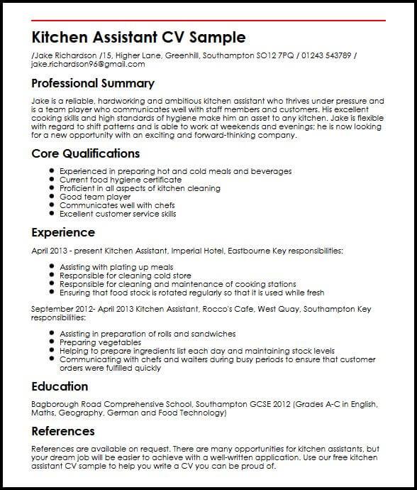 Kitchen Assistant CV Sample MyperfectCV