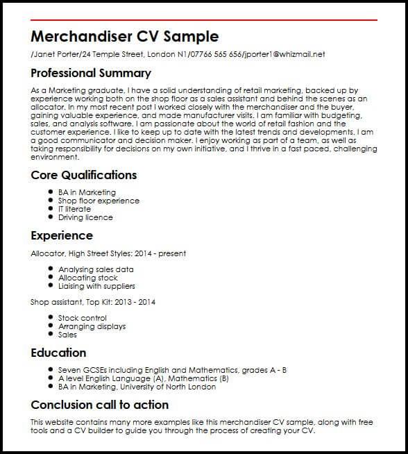 Merchandiser CV Sample MyperfectCV