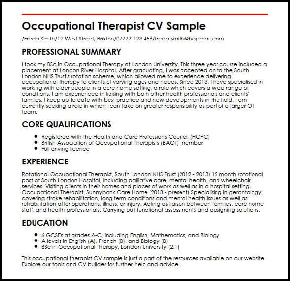 Occupational Therapist CV SampleMyperfectCV