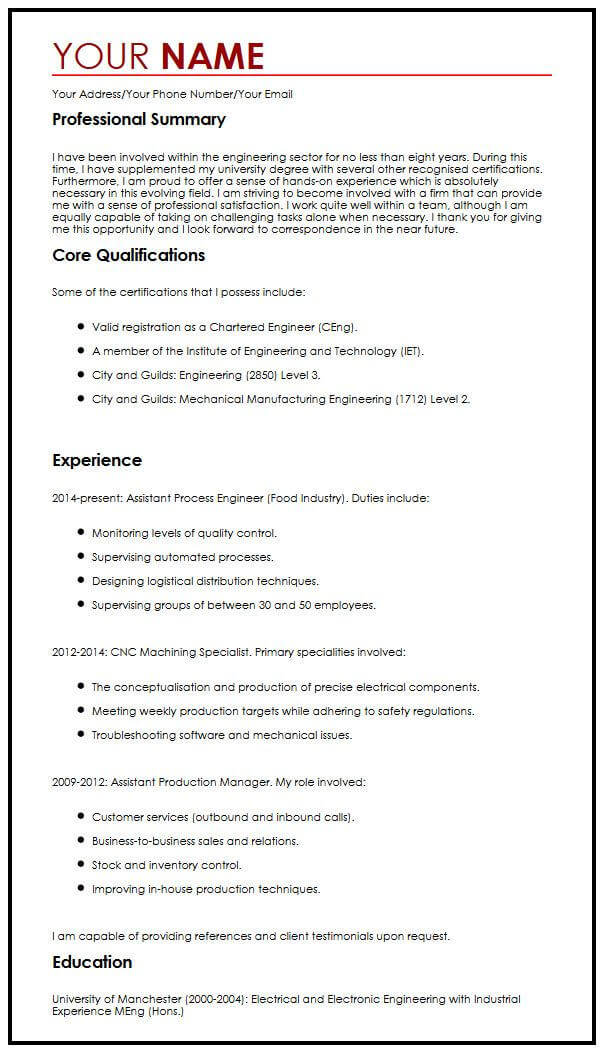 One-Page CV Example MyperfectCV