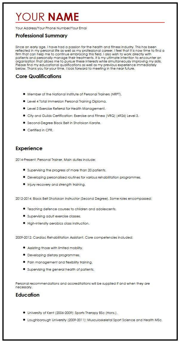 One Page CV Sample MyperfectCV