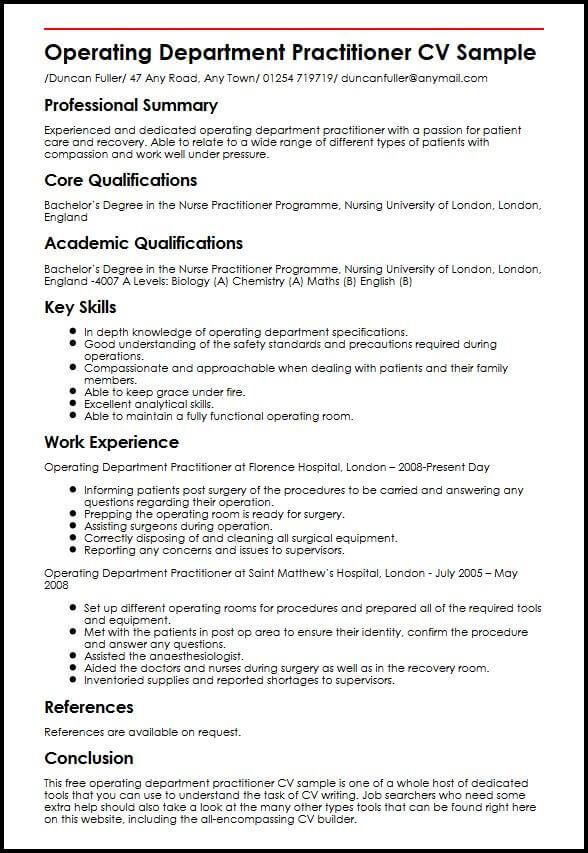 professional summary cv template