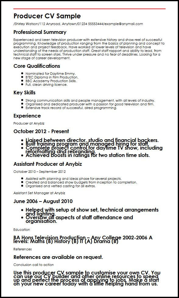 television production resume examples