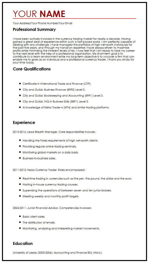 Professional CV Sample MyperfectCV