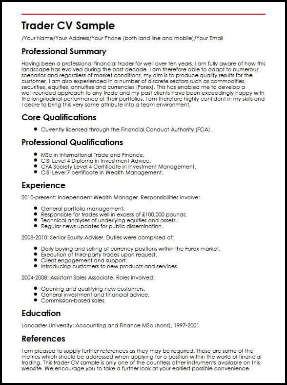 Trader CV Sample MyperfectCV - finishing manager sample resume