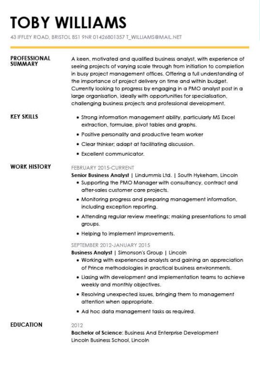 Pmo Analyst Resume Sample Management Resumes LiveCareerbusiness ...