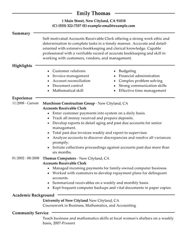 Accounts Receivable Clerk Resume Examples \u2013 Free to Try Today - Clinic Clerk Sample Resume