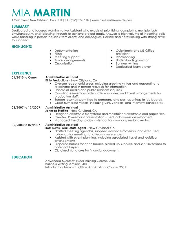 examples of resumes for administrative assistants