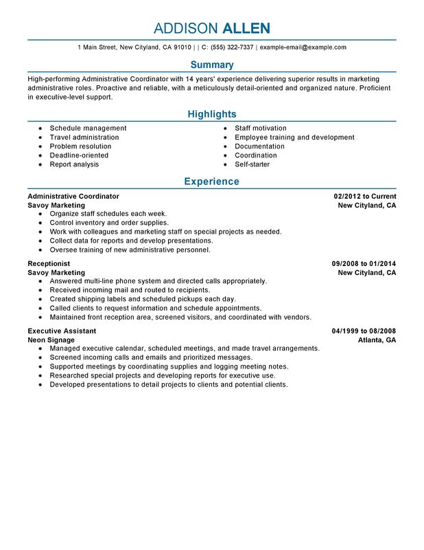 Unforgettable Administrative Coordinator Resume Examples to Stand - Resume Sample 2014