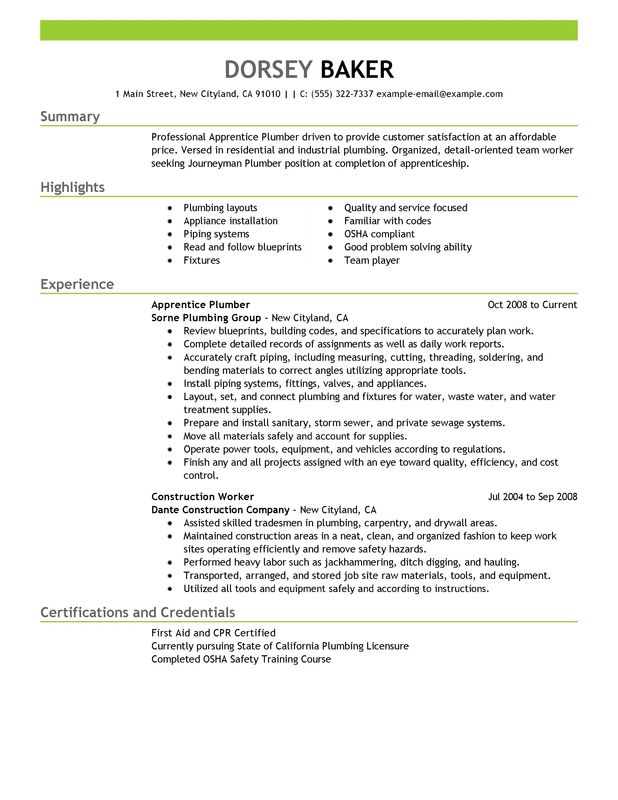 Apprentice Plumber Resume Examples \u2013 Free to Try Today MyPerfectResume - Plumber Resume Template