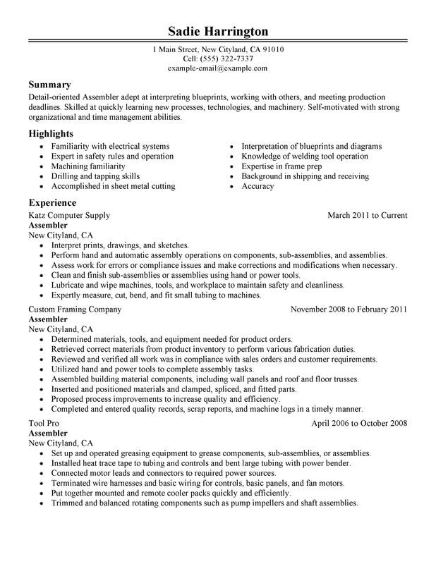Assembler Resume Examples \u2013 Free to Try Today MyPerfectResume - sample mechanical assembler resume