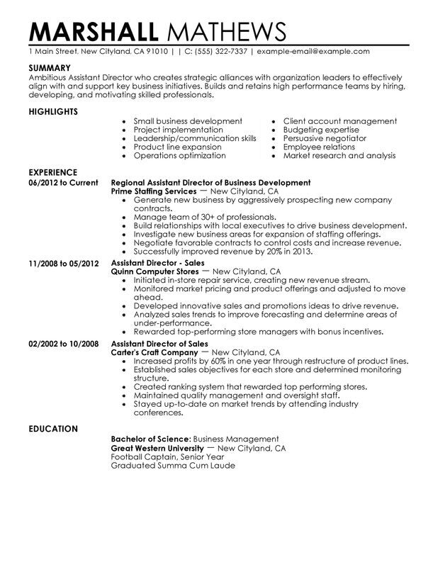 Assistant Director Resume Examples {Created by Pros} MyPerfectResume - leadership resume