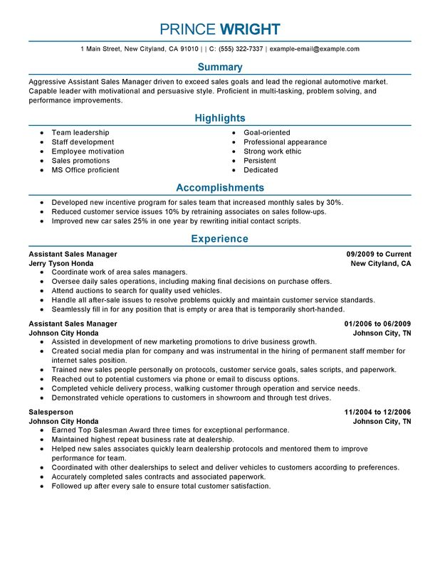 Unforgettable Assistant Automotive Manager Resume Examples to Stand - sample resume customer service manager