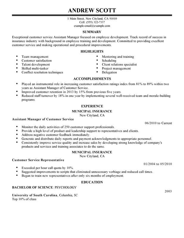Assistant Manager Resume Examples {Created by Pros} MyPerfectResume - sample resume customer service