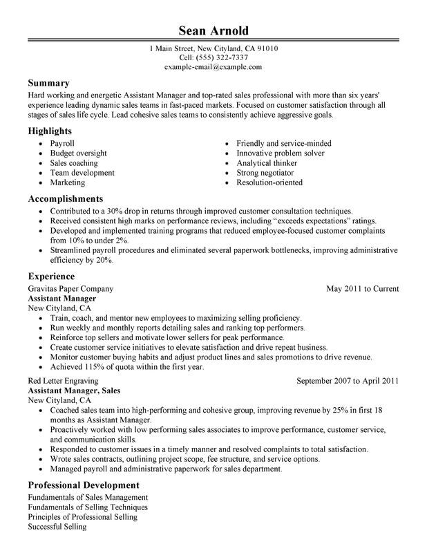 Assistant Sales Manager Resume Examples -- Free to Try Today - sample assistant manager resume