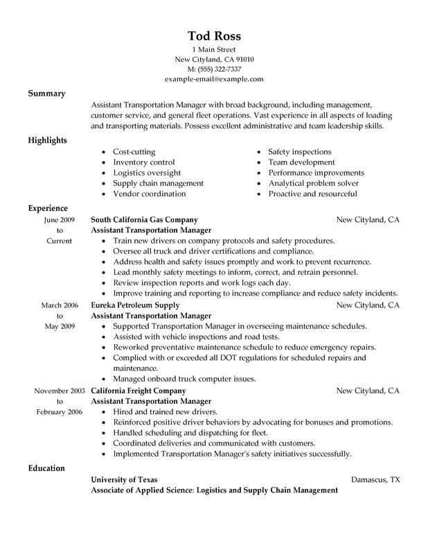 resume examples for fleet manager