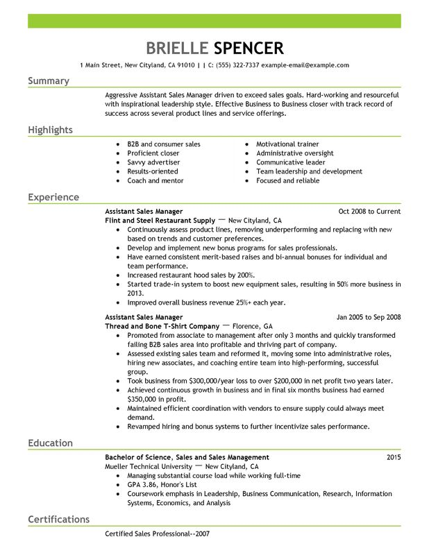 Assistant Managers Resume Examples {Created by Pros} MyPerfectResume - resume sales manager