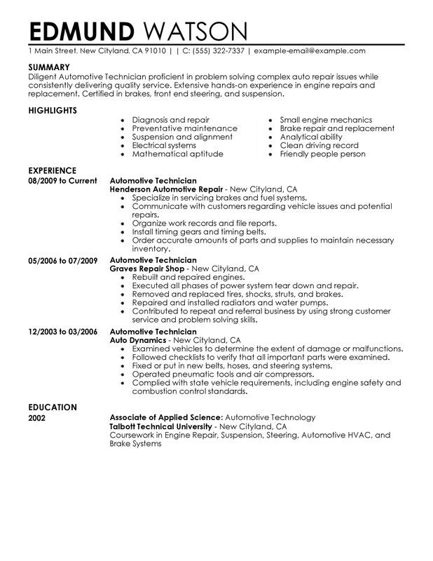 auto repair technician resume sample