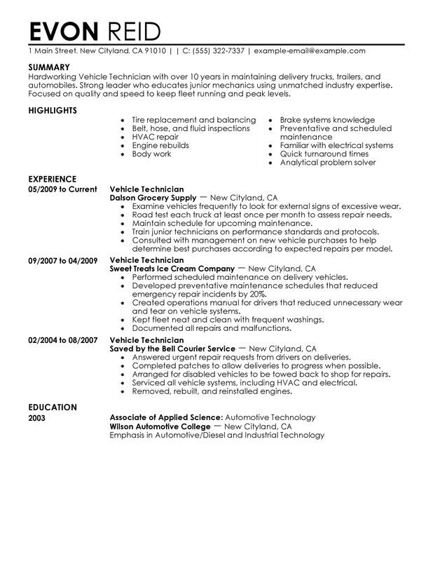 Automotive Technician Resume Examples -- Free to Try Today - sample technical resume