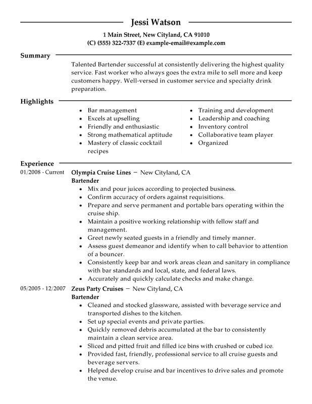 Bartender Resume Examples \u2013 Free to Try Today MyPerfectResume - objective for bartending resume