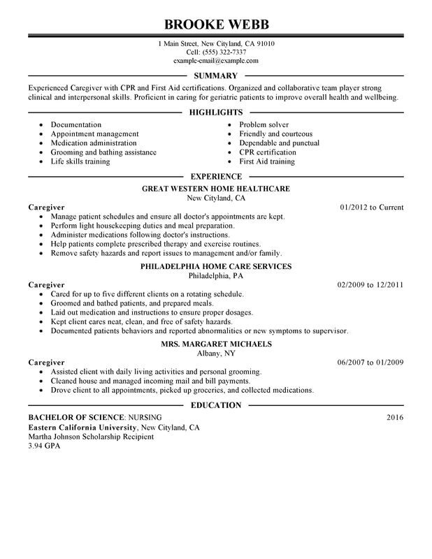 Unforgettable Caregiver Resume Examples to Stand Out MyPerfectResume - private duty caregiver sample resume