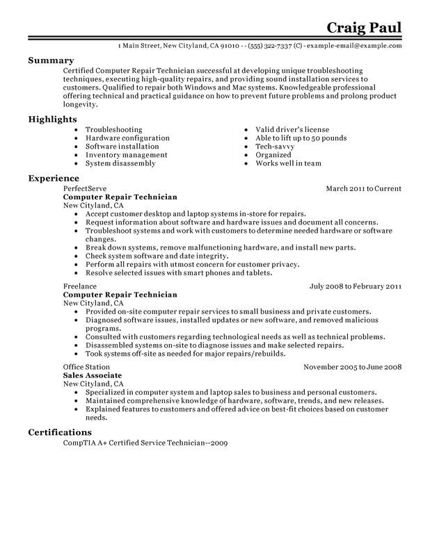 Computer Repair Technician Resume Examples {Created by Pros - computer technician resume sample
