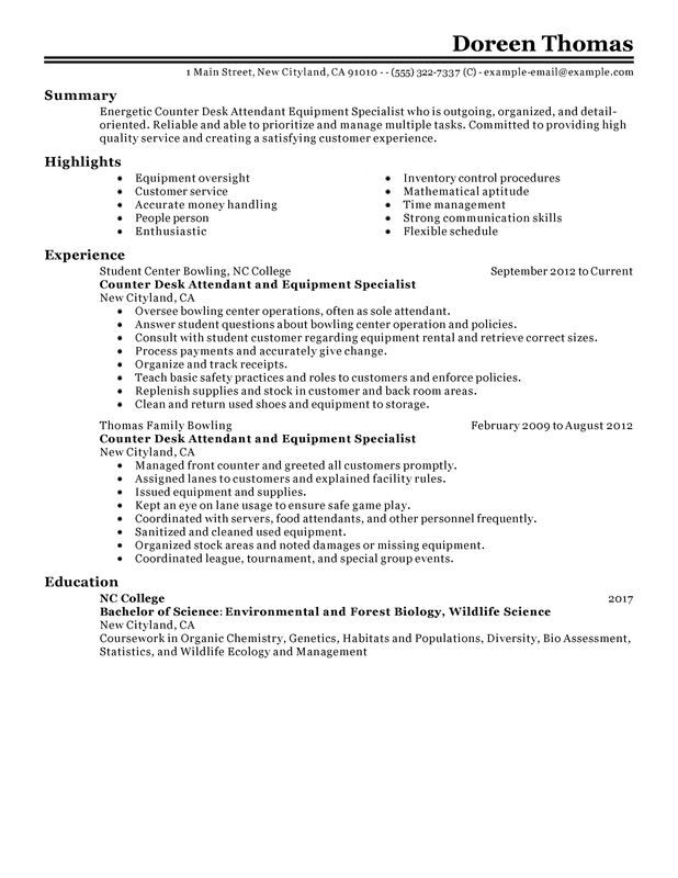 Counter Desk Attendant Equipment Specialist Resume Examples \u2013 Free