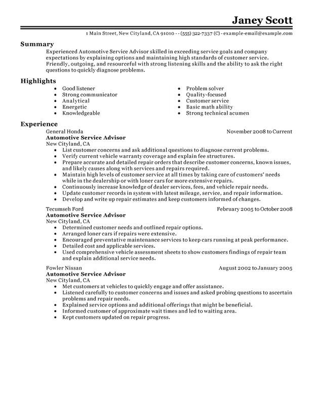 Unforgettable Automotive Customer Service Advisor Resume Examples to - example or resume